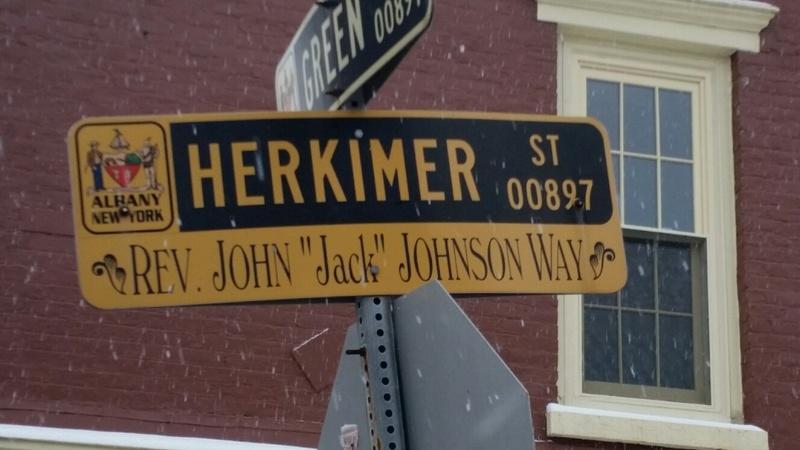 "Rev. John ""Jack"" Johnson Way aka Herkimer Street."